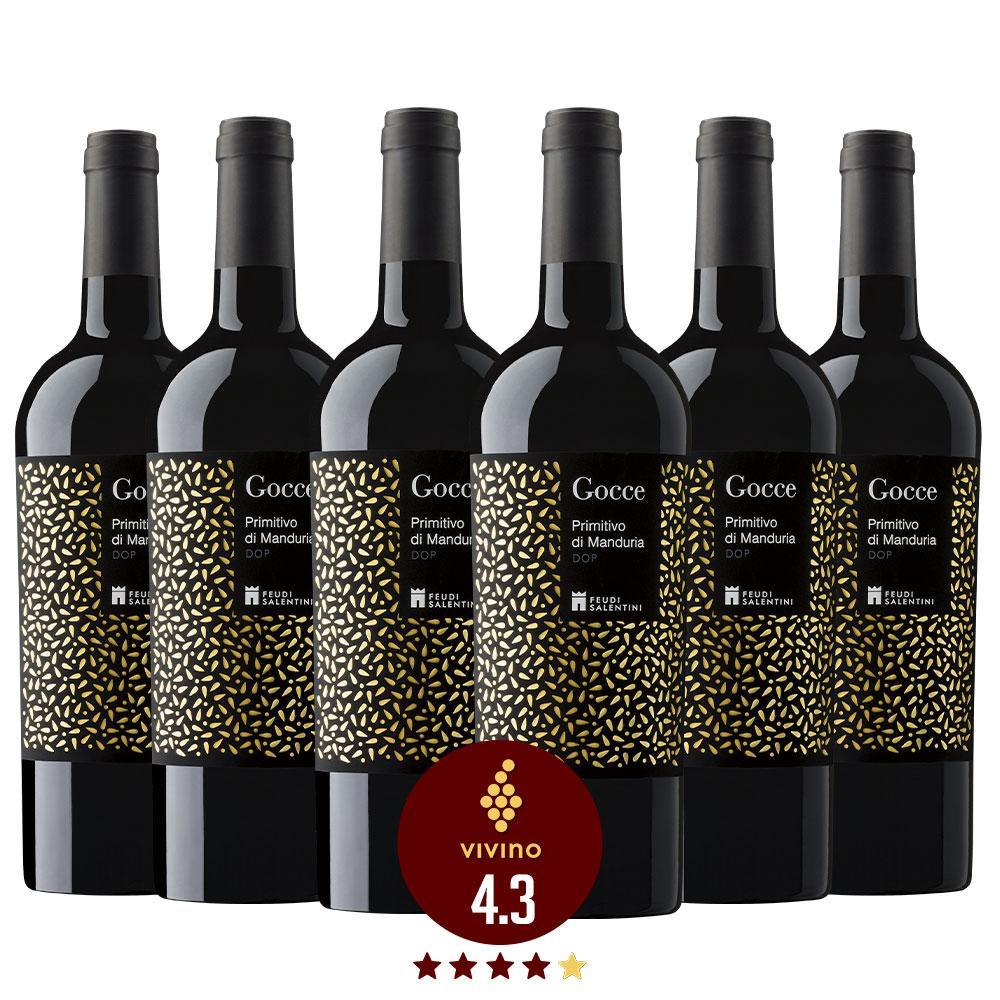 Caixa com 6 garrafas - Vinho Feudi Salentini Gocce Primitivo di Manduria 2017
