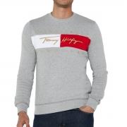 Blusa de Moletom Tommy Hilfiger Signature Flag Cinza