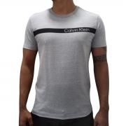 Camiseta Calvin Klein Slim Institucional Faixa Cinza
