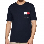 Camiseta Tommy Hilfiger Back Patch Tee Azul Marinho