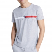 Camiseta Tommy Hilfiger Global Stripe Chest Cinza Mescla