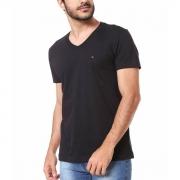 Camiseta Tommy Hilfiger Regular V-Neck Essential Preto