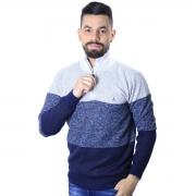Suéter Agricio Meio Ziper Listra Azul Mescla