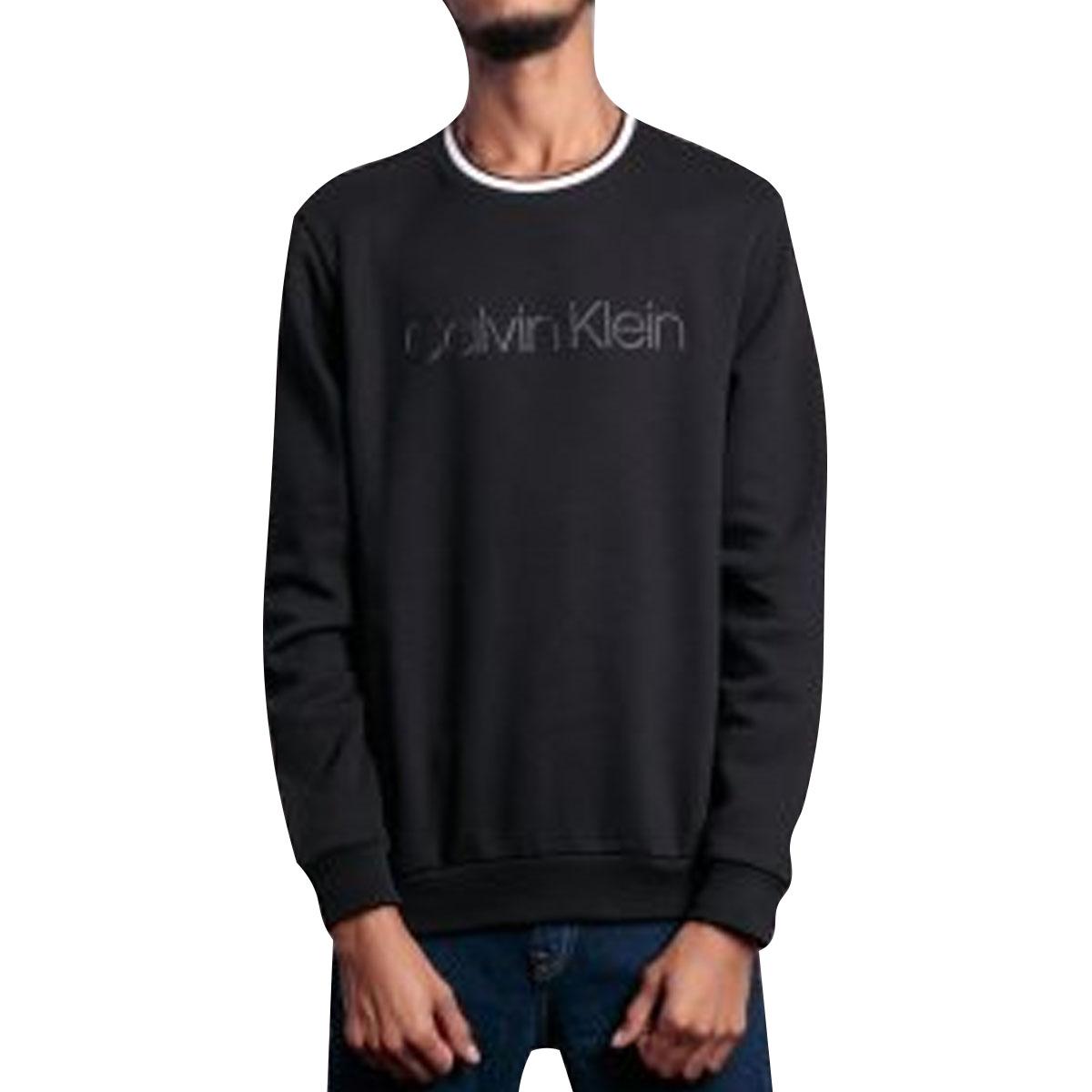 Blusa de Moletom Calvin Klein Masculino Retilínea na Gola Preto
