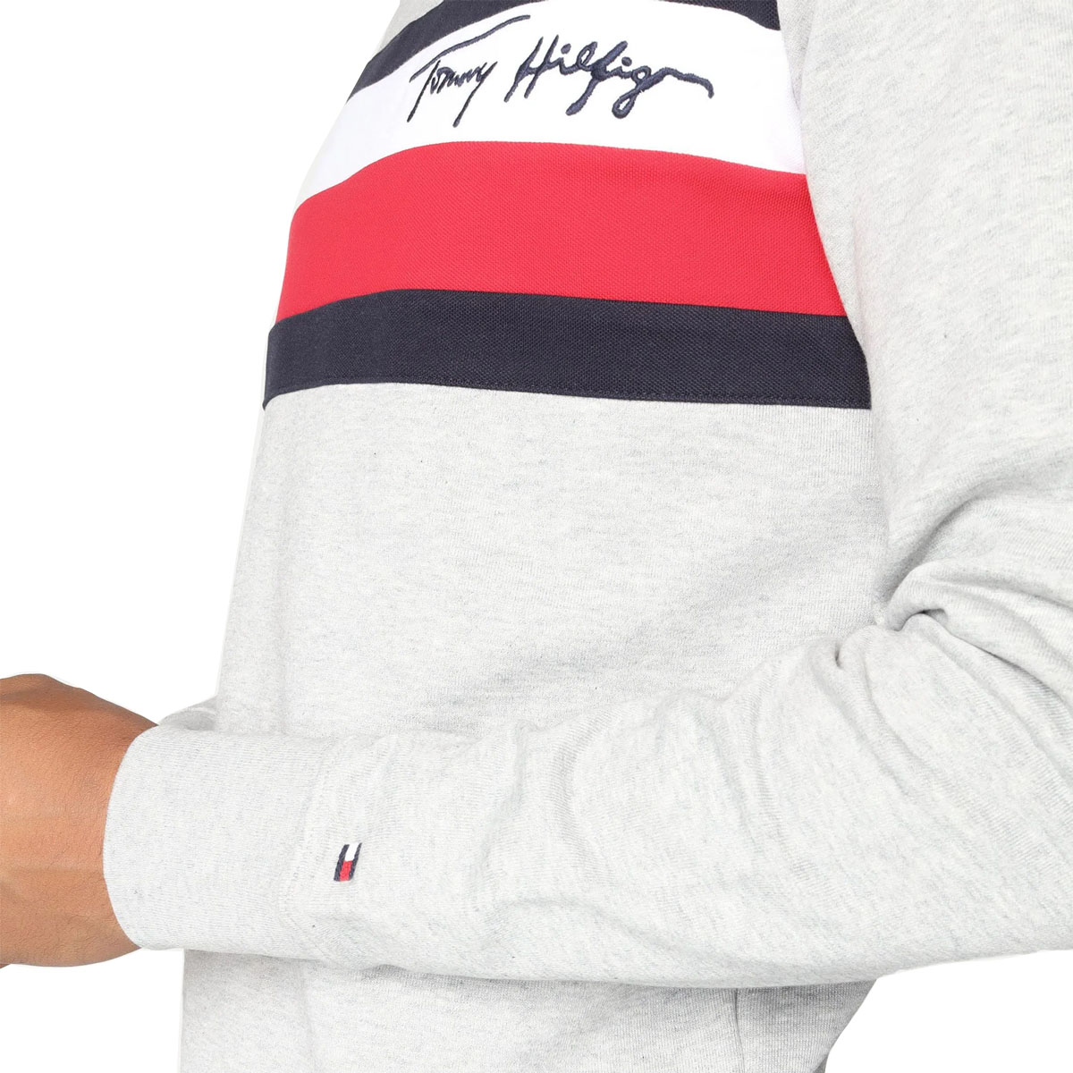 Blusa de Moletom Tommy Hilfiger Piquet Panel Sweater Cinza