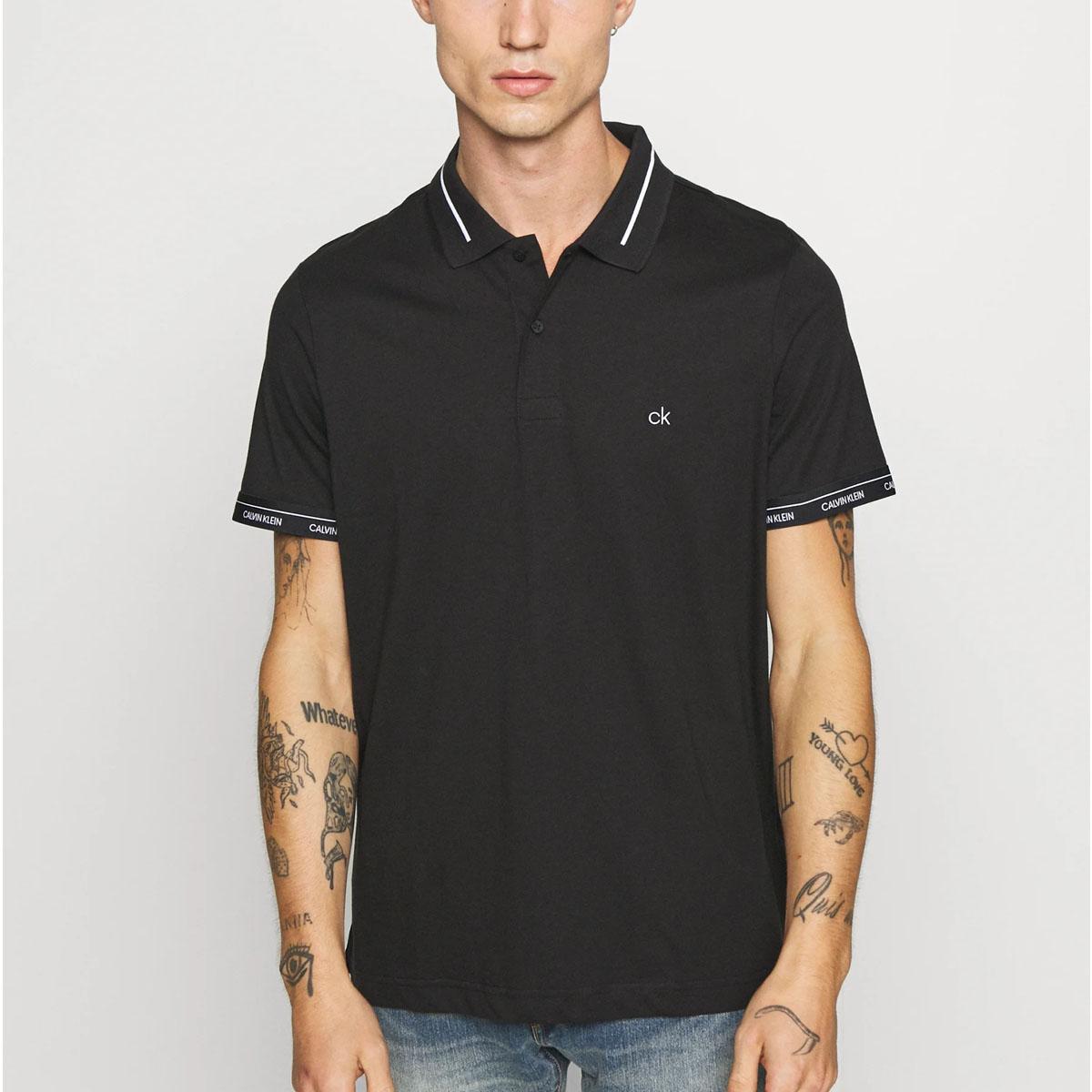 Camisa Polo Calvin Klein Slim Fit Preta
