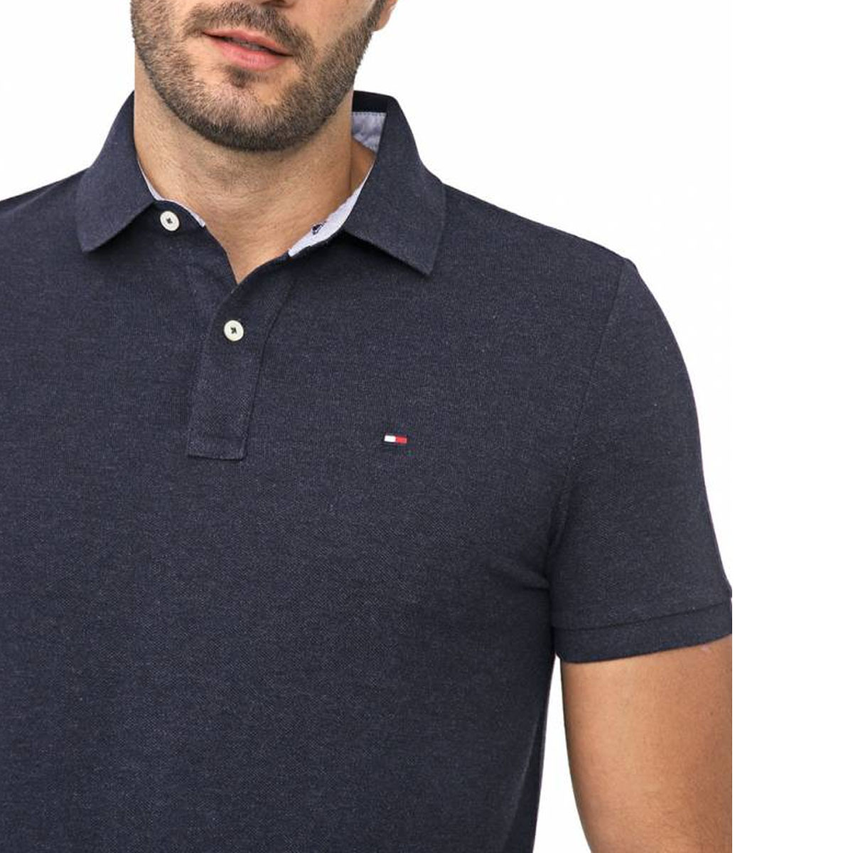 Camisa Polo Tommy Hilfiger Regular Azul Marinho Mescla