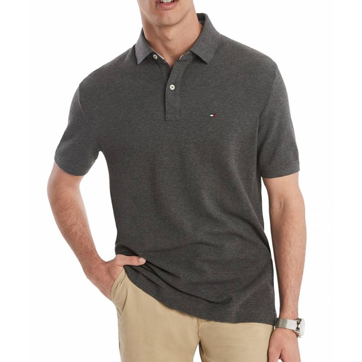 Camisa Polo Tommy Hilfiger Regular Cinza Chumbo