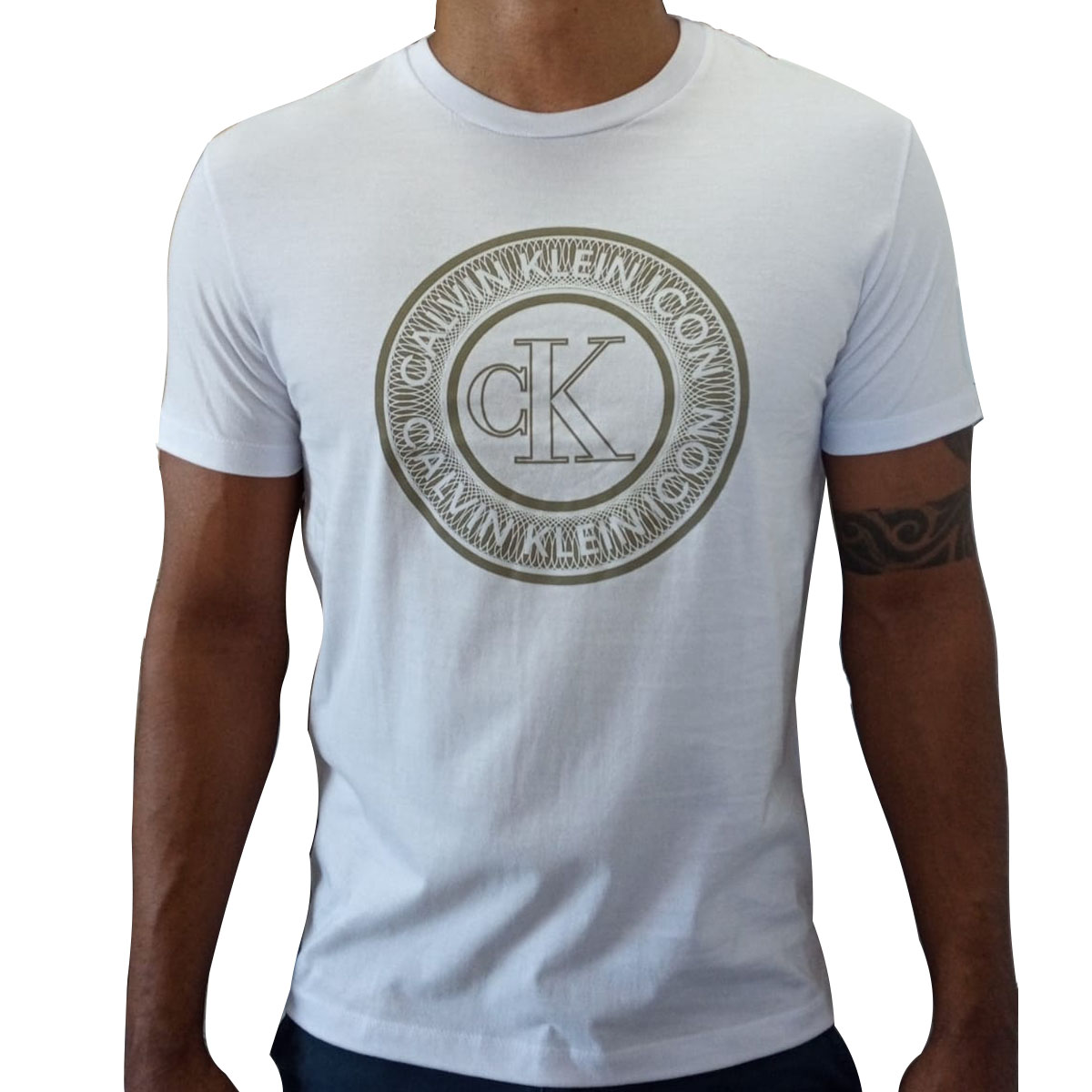 Camiseta Calvin Klein Careca Alg Icon Cotton Louge Branca