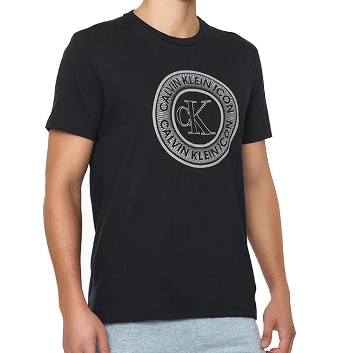 Camiseta Calvin Klein Careca Alg Icon Cotton Louge Preta