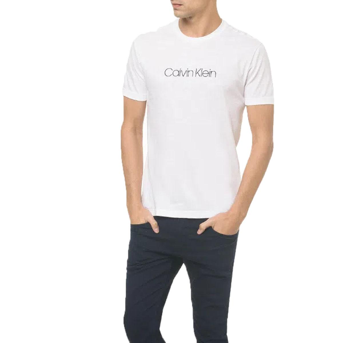 Camiseta Calvin Klein Masculina Flame Branco Ck Peito