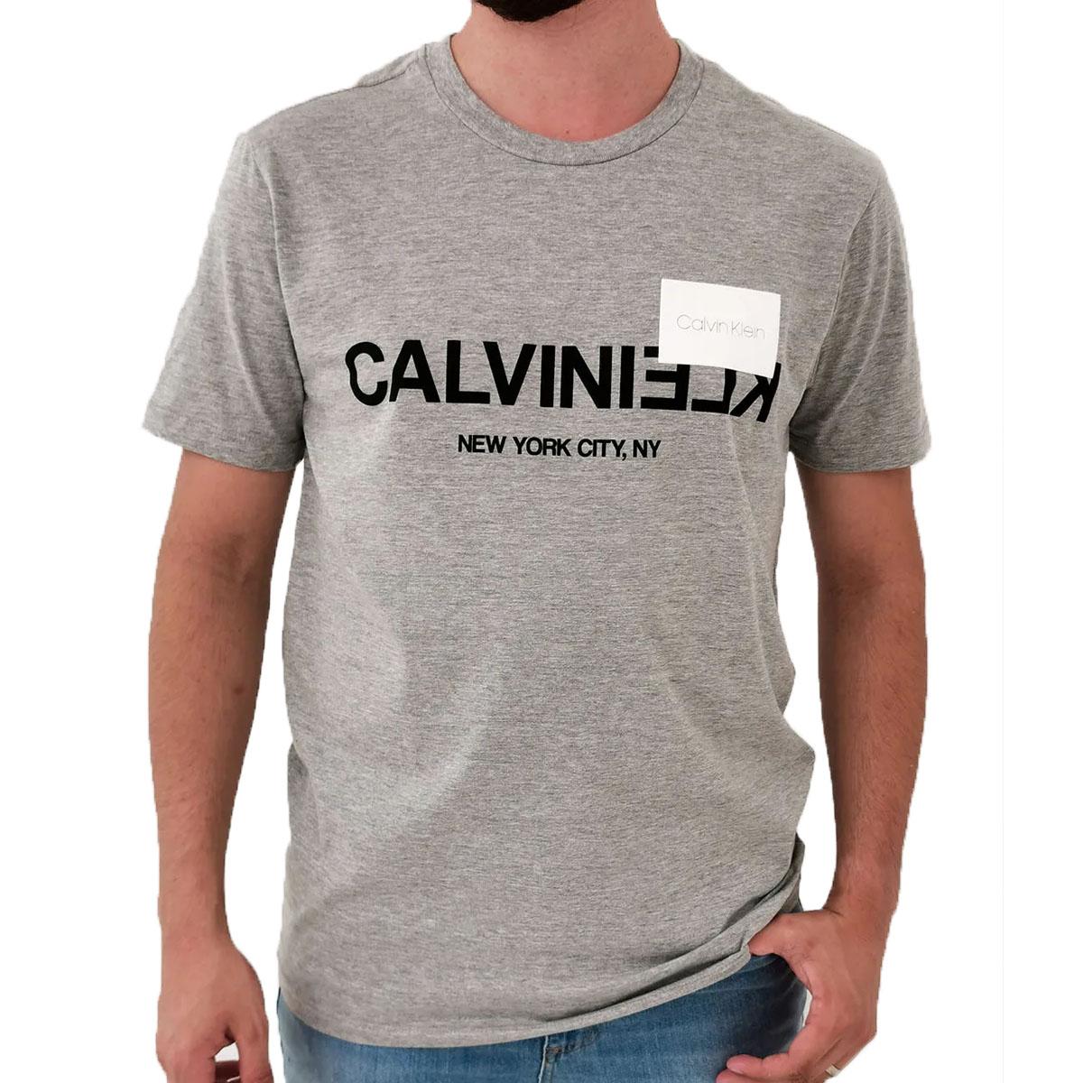 Camiseta Calvin Klein MC Slim Silk NY Cinza