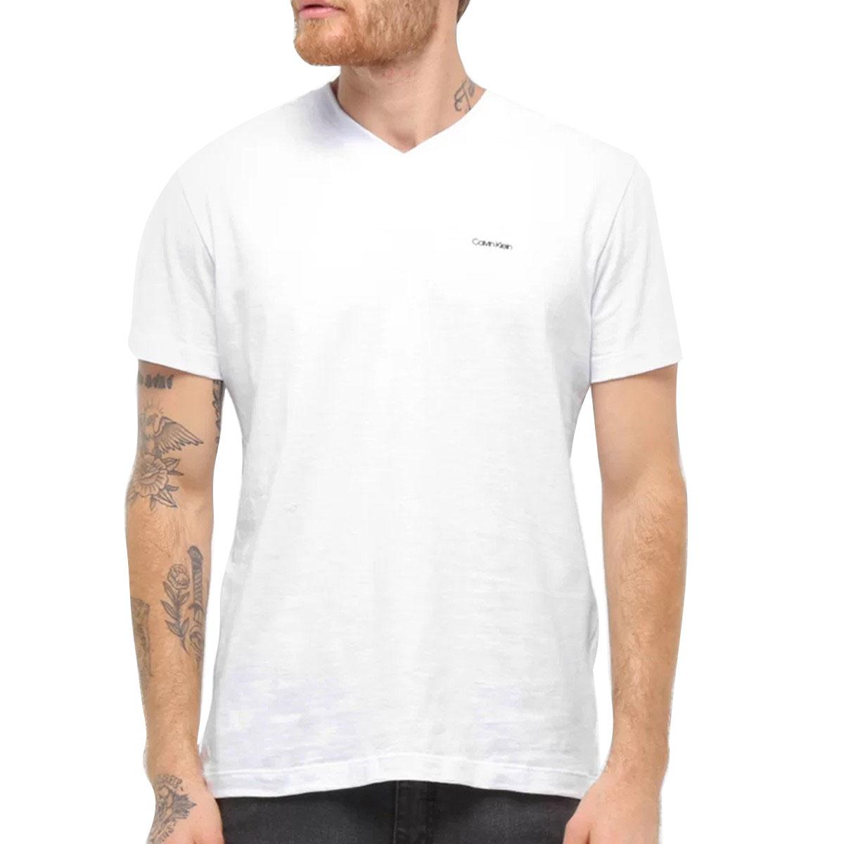 Camiseta Calvin Klein Slim Flame Gola V Branca