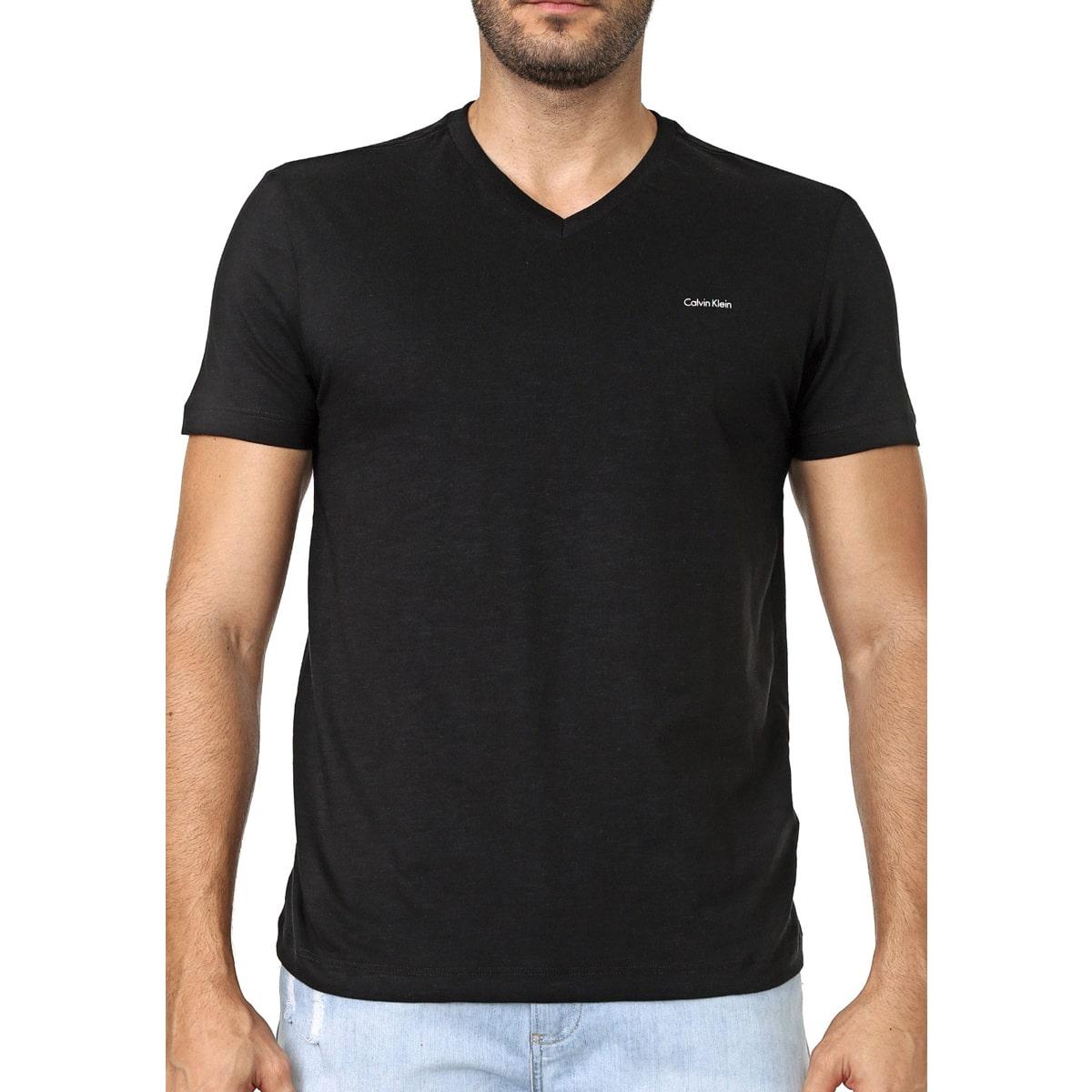 Camiseta Calvin Klein Slim Flame Gola V Preto