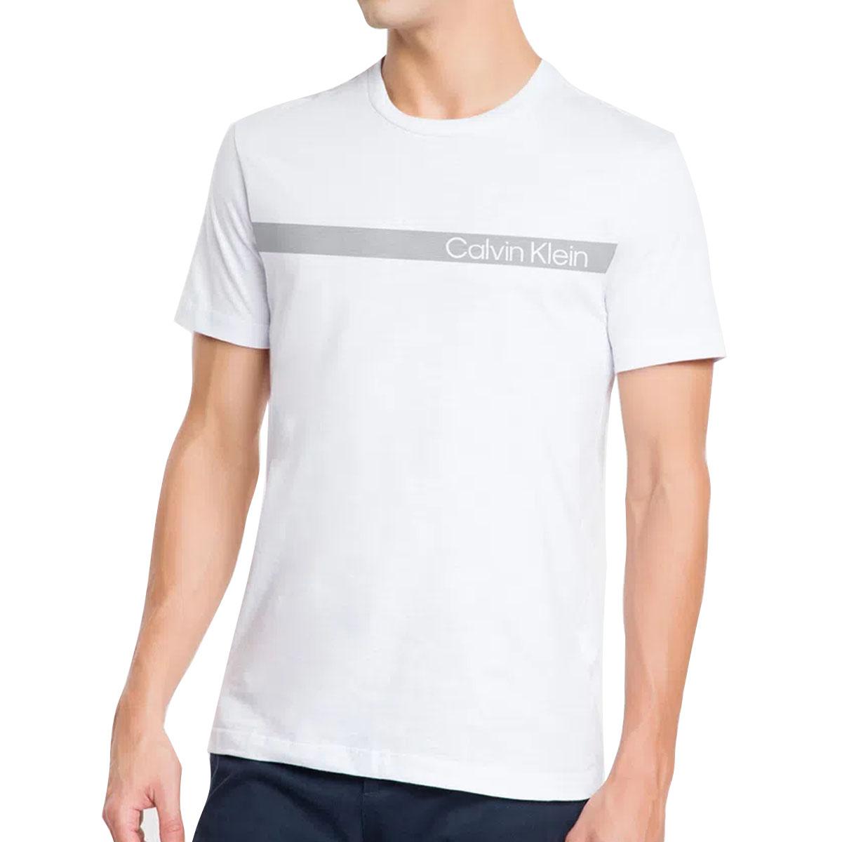 Camiseta Calvin Klein Slim Institucional Faixa Branca