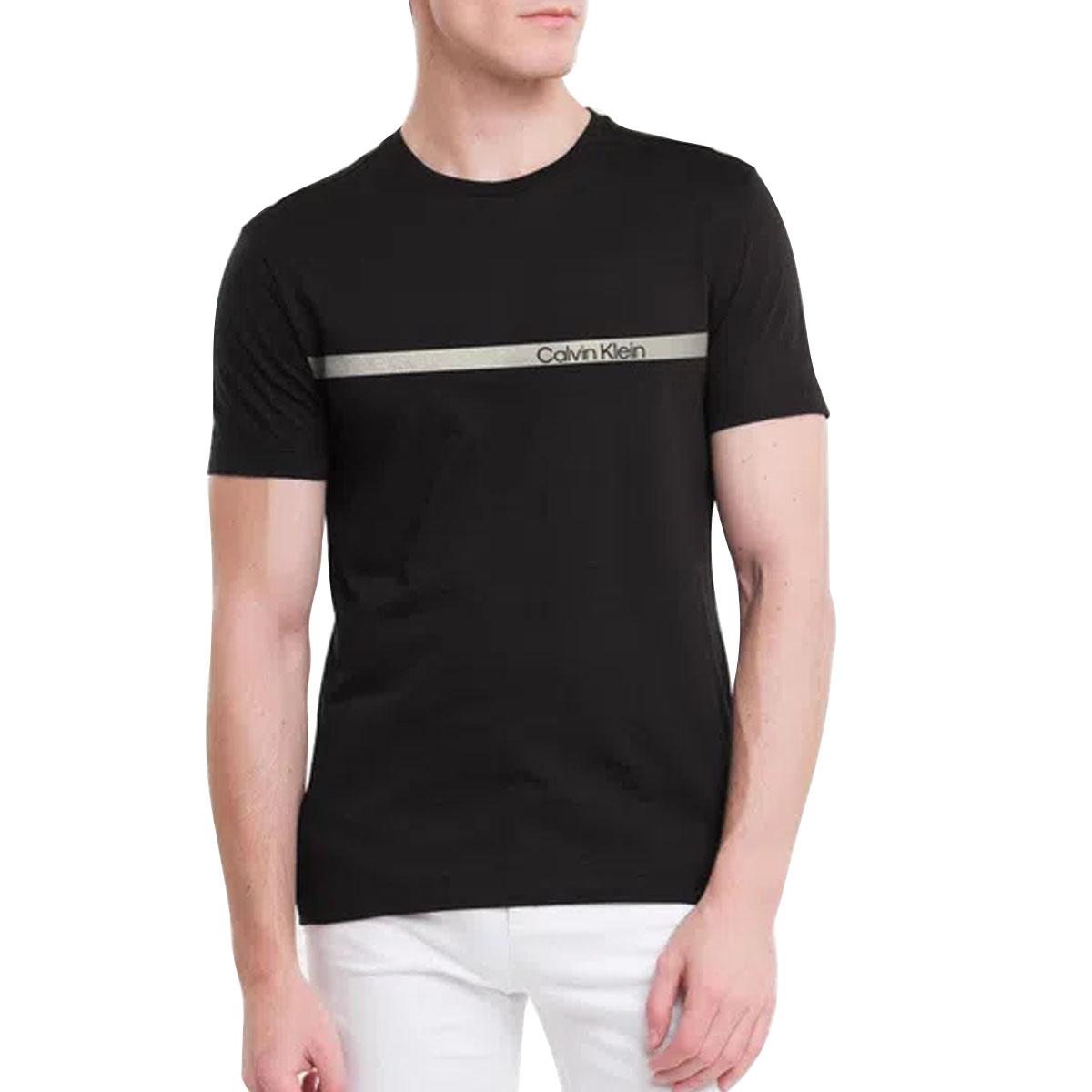 Camiseta Calvin Klein Slim Institucional Faixa Preto