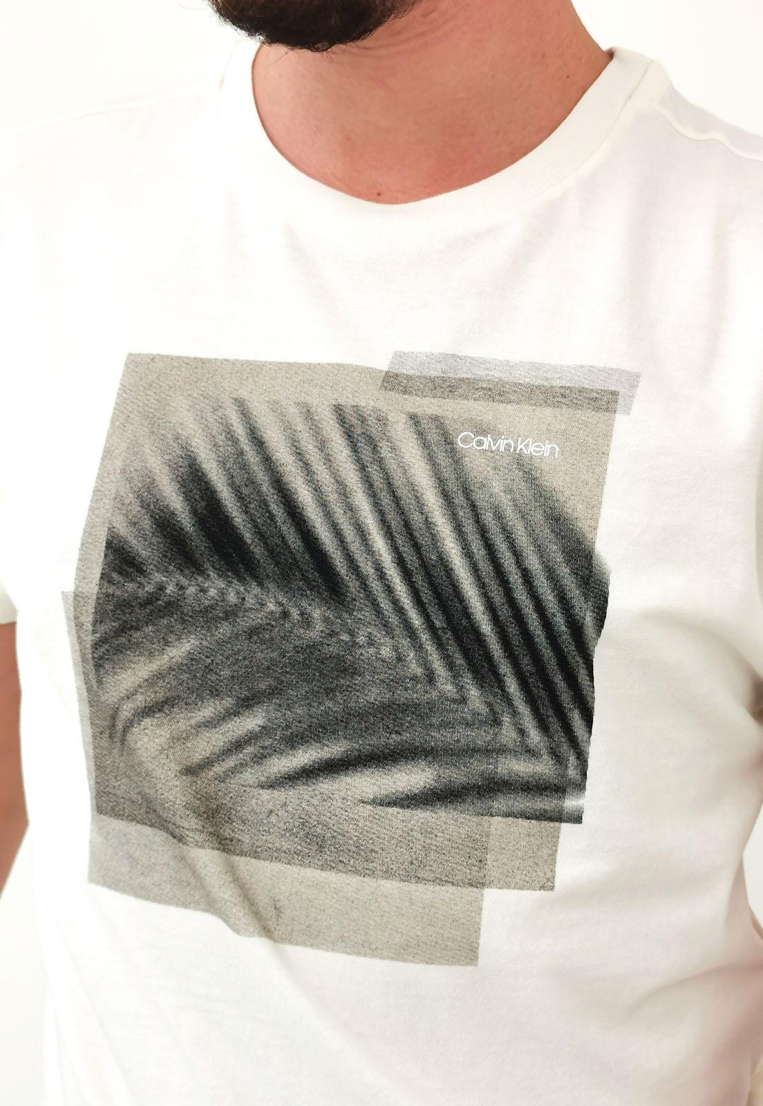 Camiseta Calvin Klein Slim Silk Logo Palma OFF White