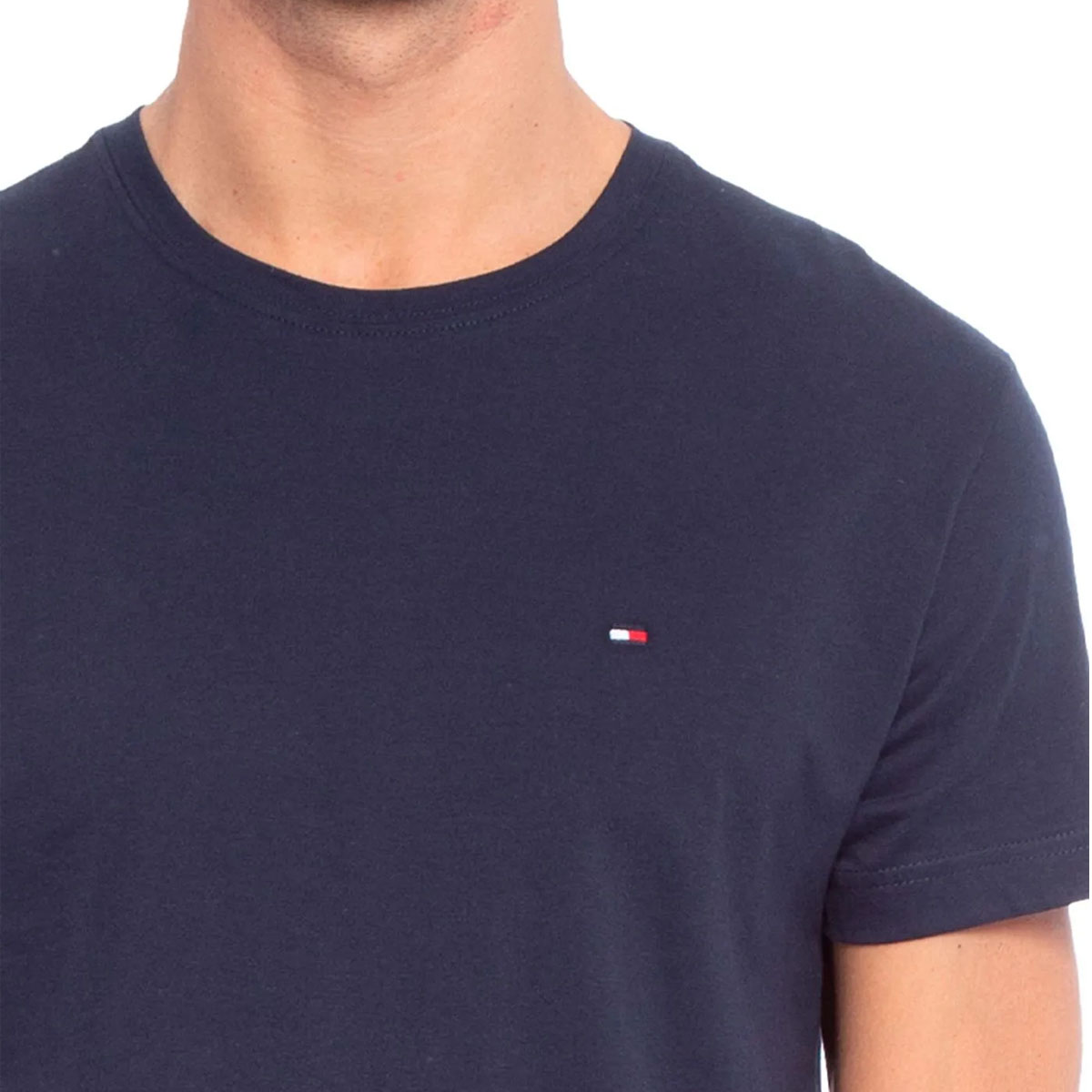 Camiseta Tommy Hifliger Masculina Gola Redonda Azul Marinho