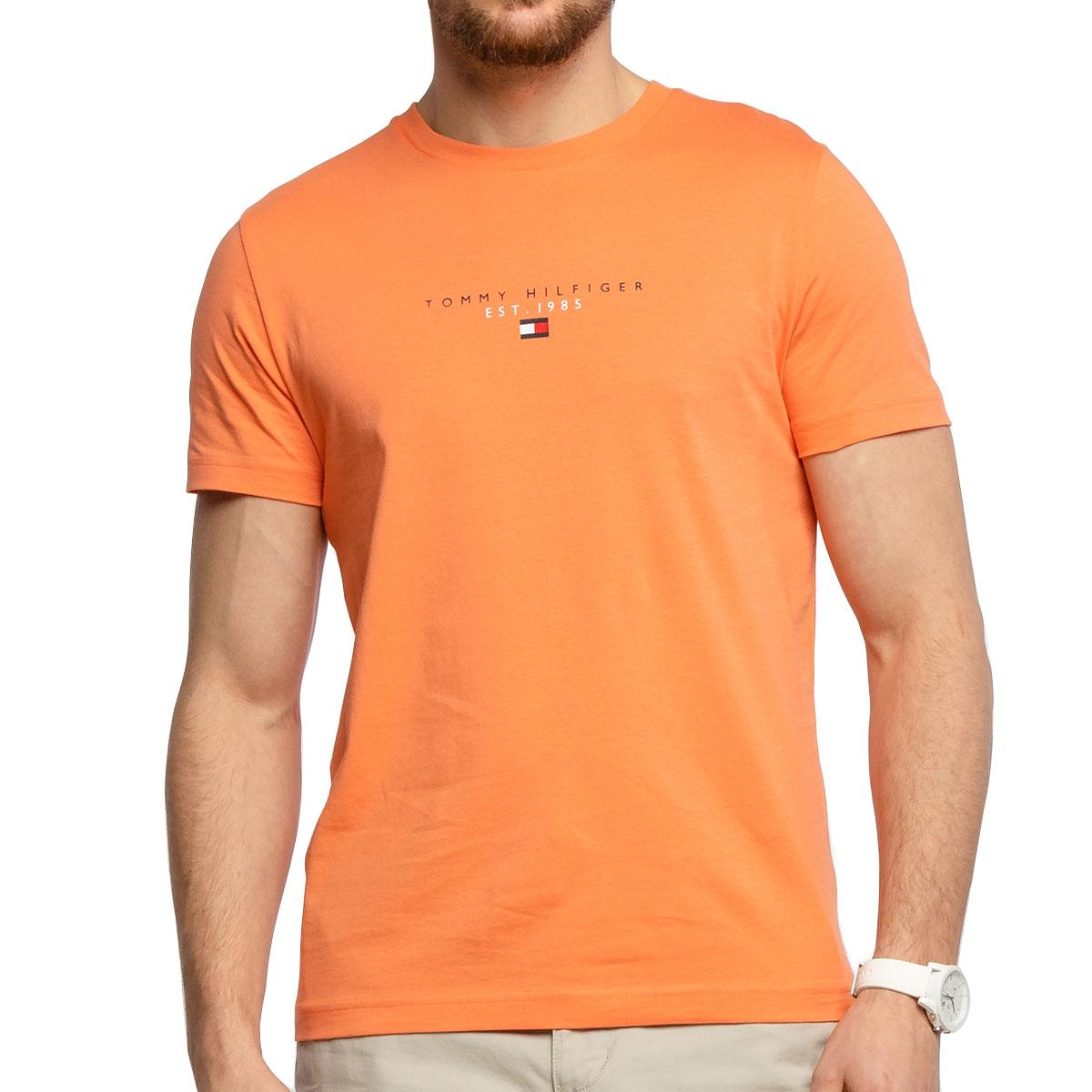 Camiseta Tommy Hilfiger Essential Tee Laranja
