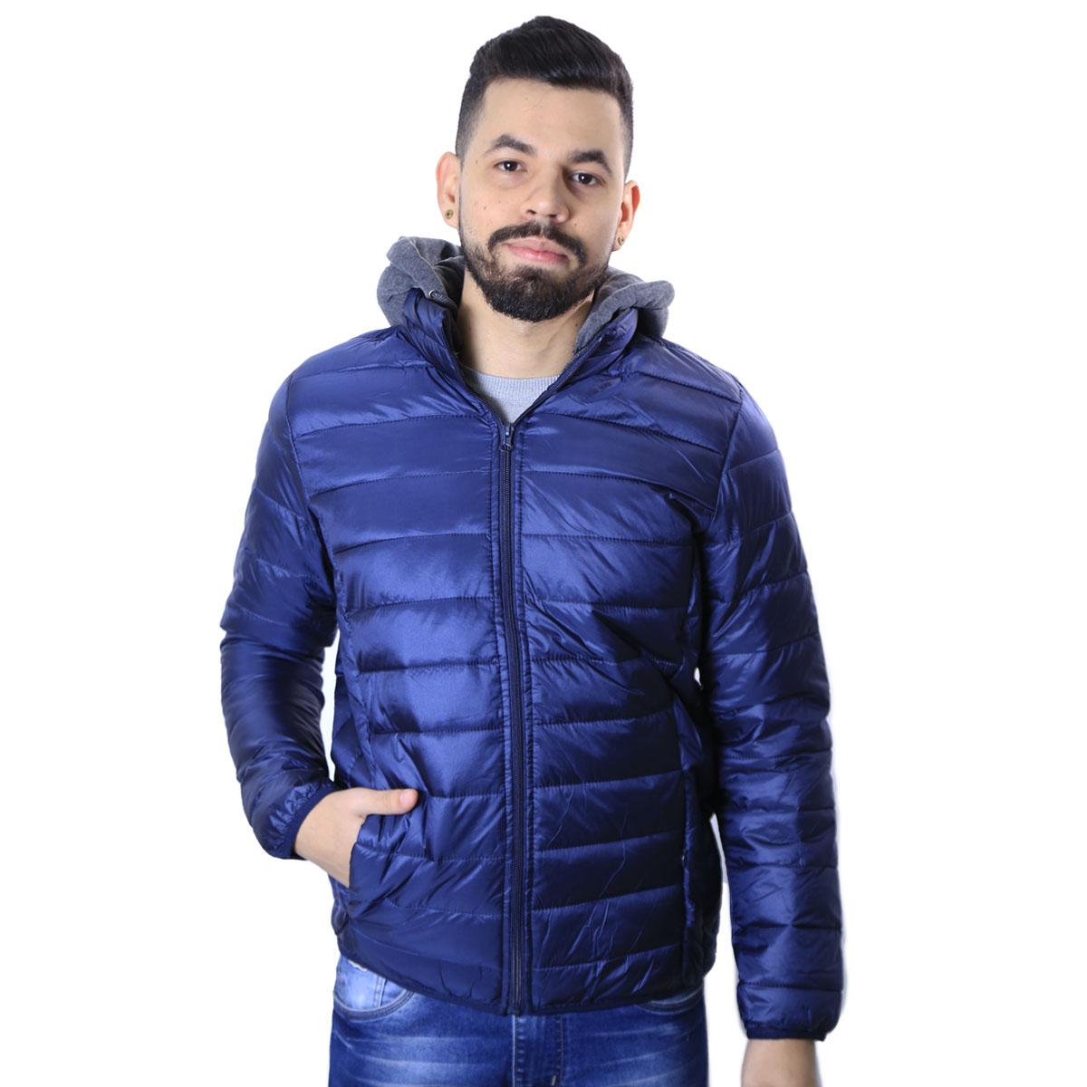 Jaqueta Masculina Agricio com Capuz de Moletom Removível Azul