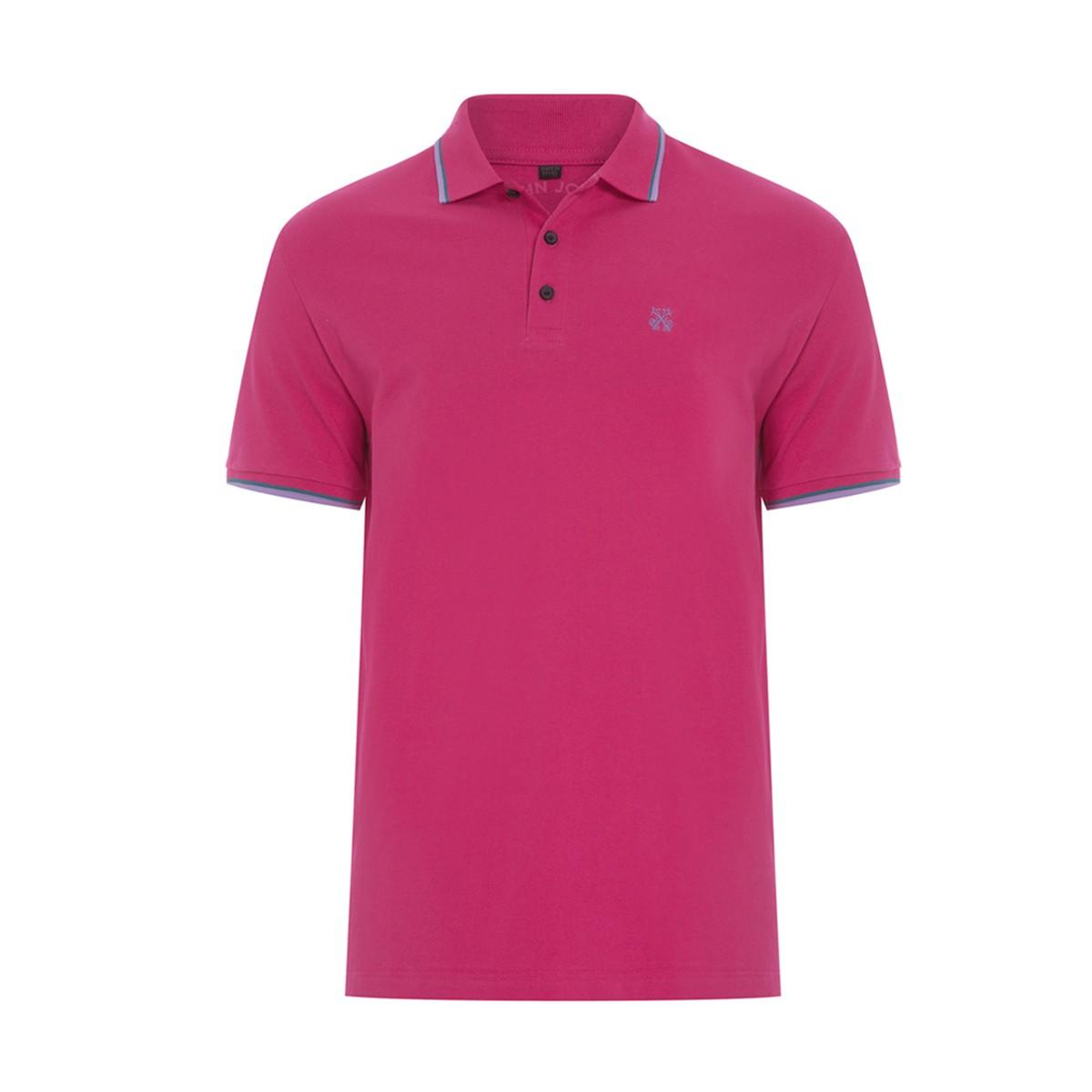 Camisa Polo John John 2 Lines Cherry Rosa Escuro