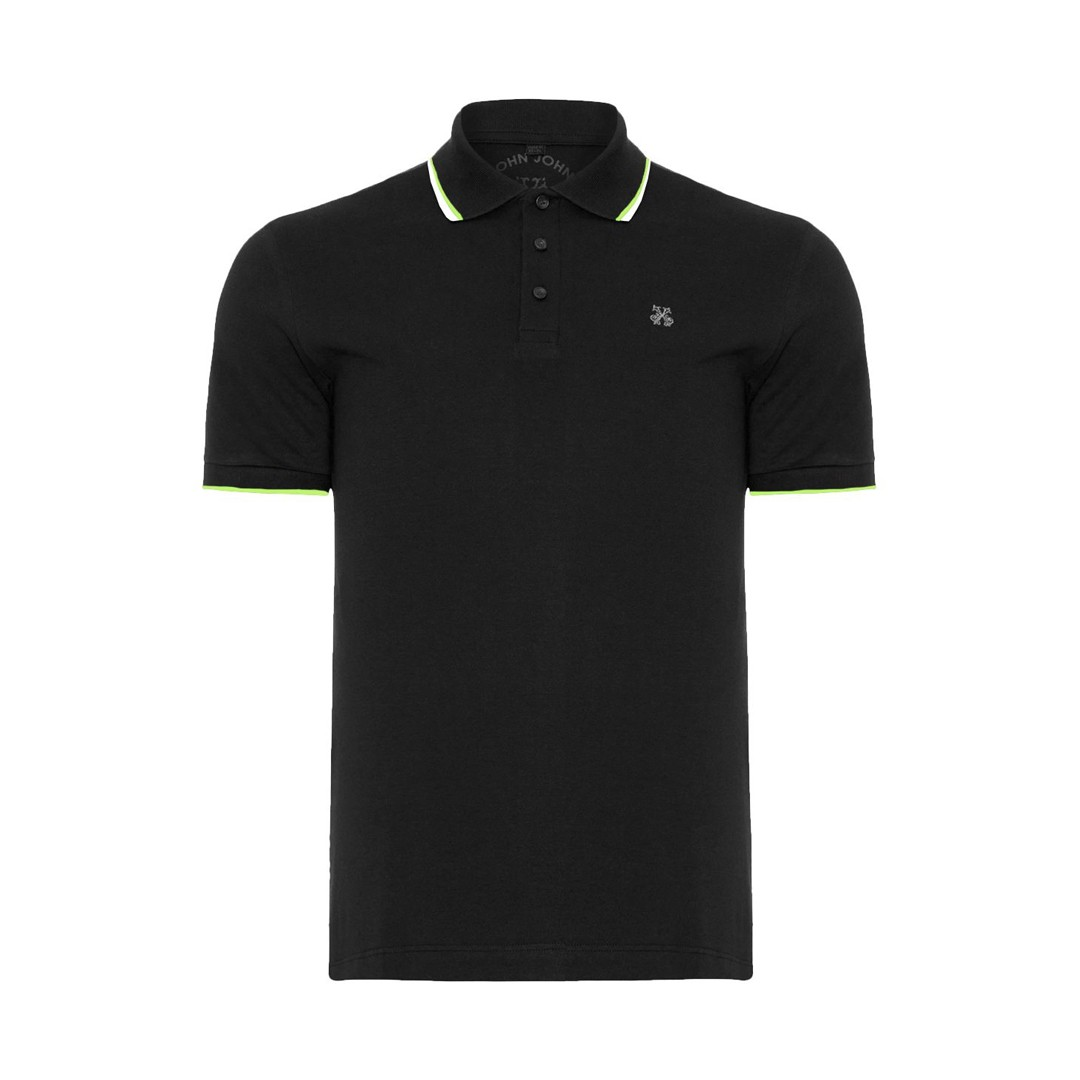 Camisa Polo John John 2 Lines Preta