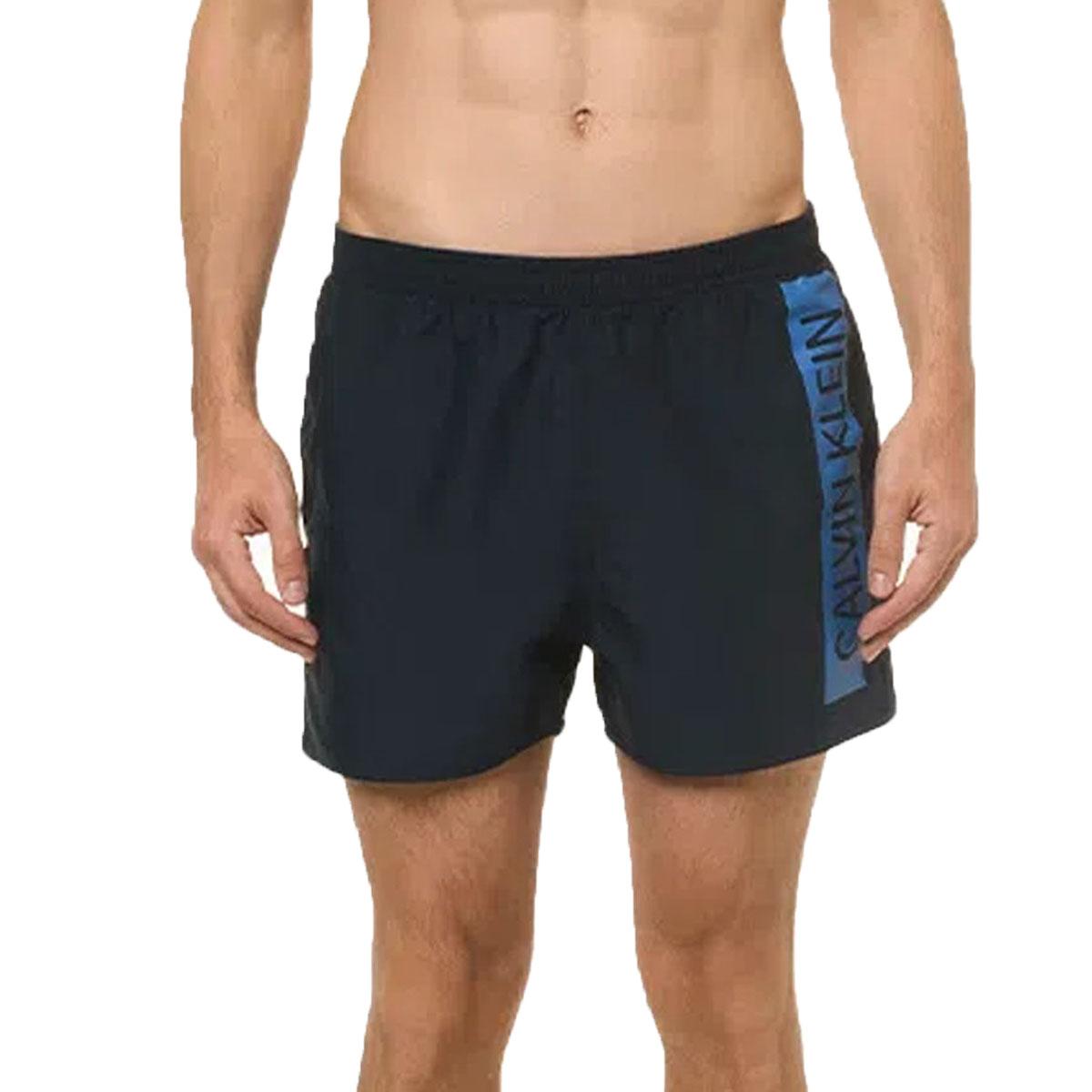 Shorts Calvin klein Liso com Logo na lateral Azul