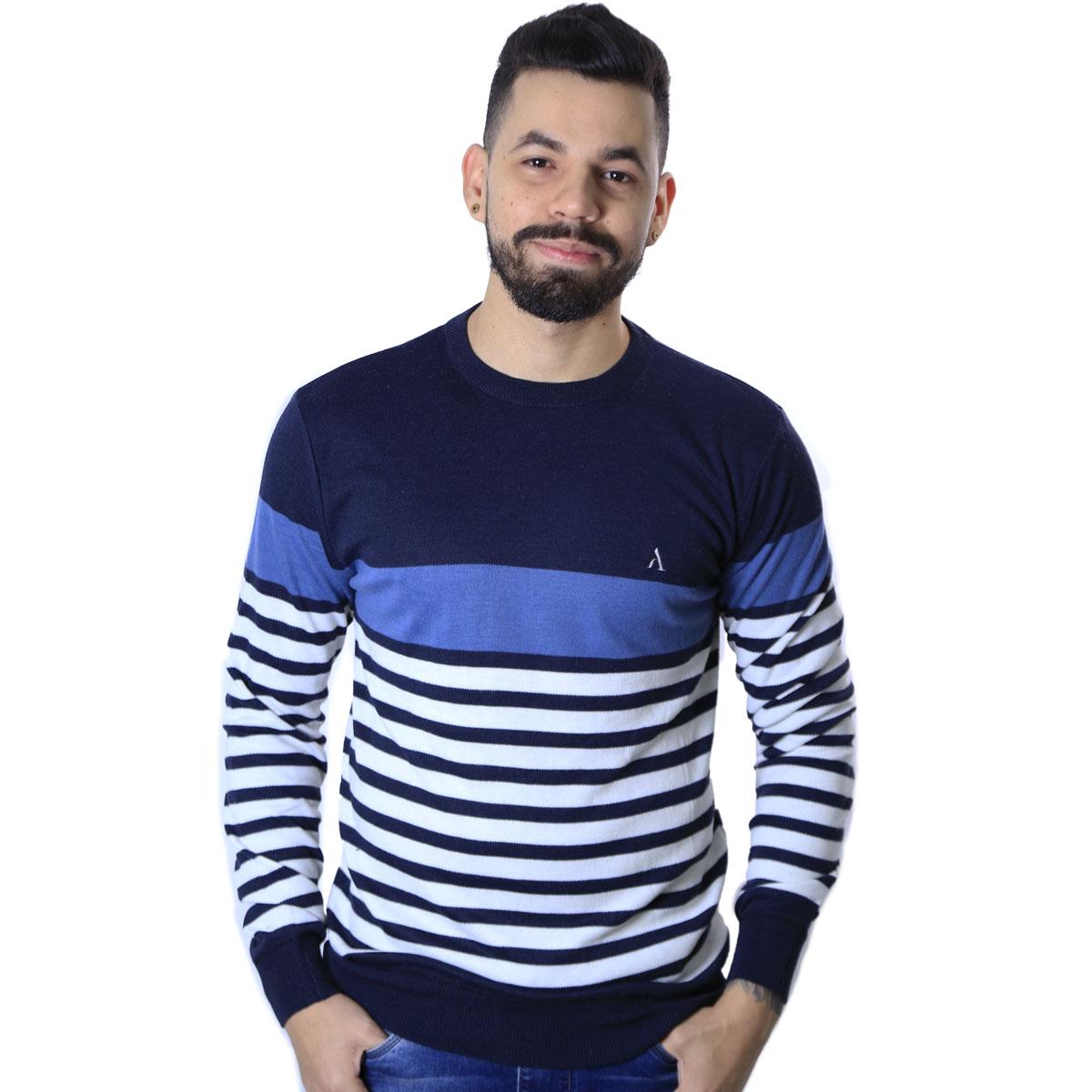 Suéter Agricio Listrado Azul