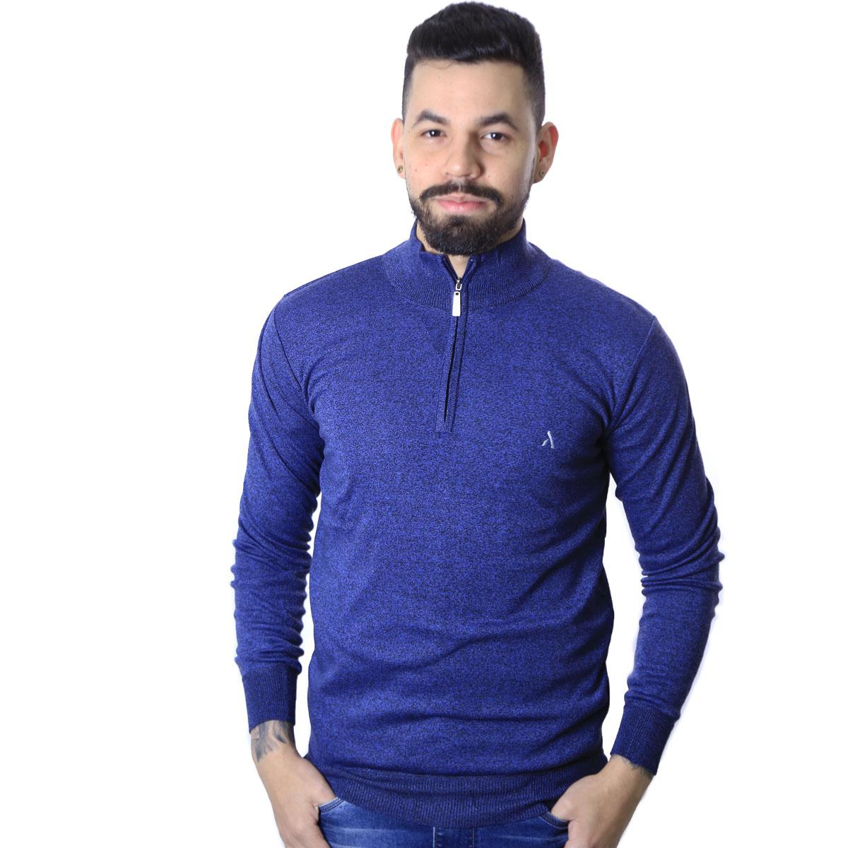Suéter Agricio Meio Ziper Basico Azul Mescla