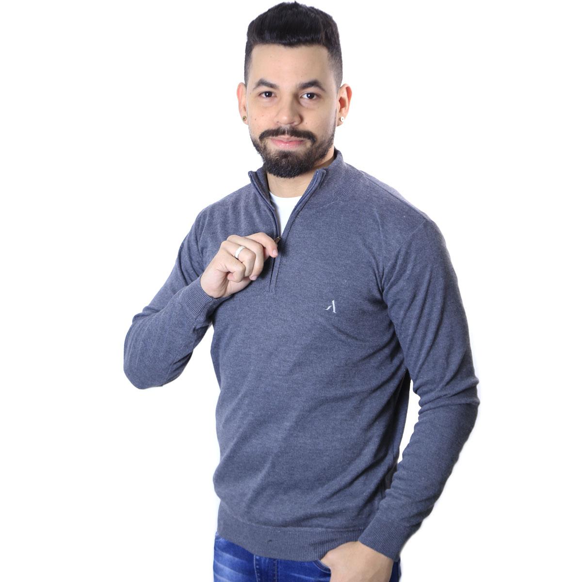 Suéter Agricio Meio Ziper Basico Cinza Escuro Mescla