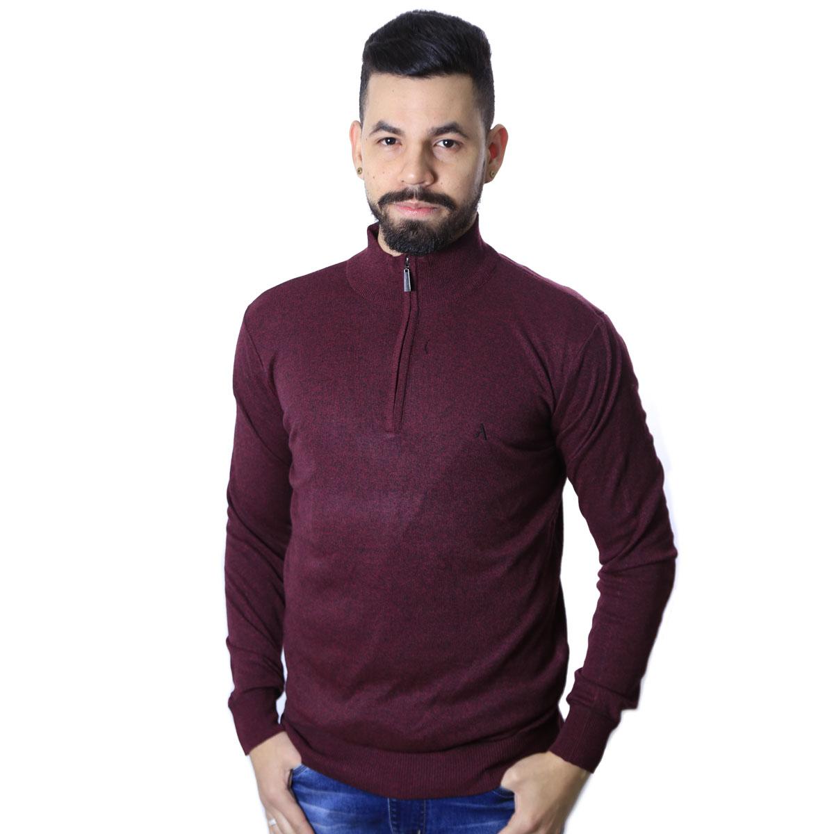 Suéter Agricio Meio Ziper Basico Vinho Mescla