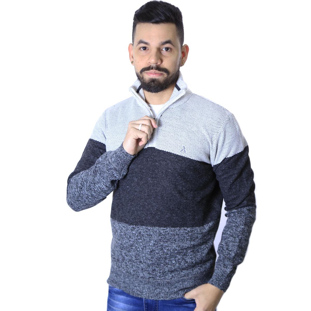 Suéter Agricio Meio Ziper Listra Cinza Mescla