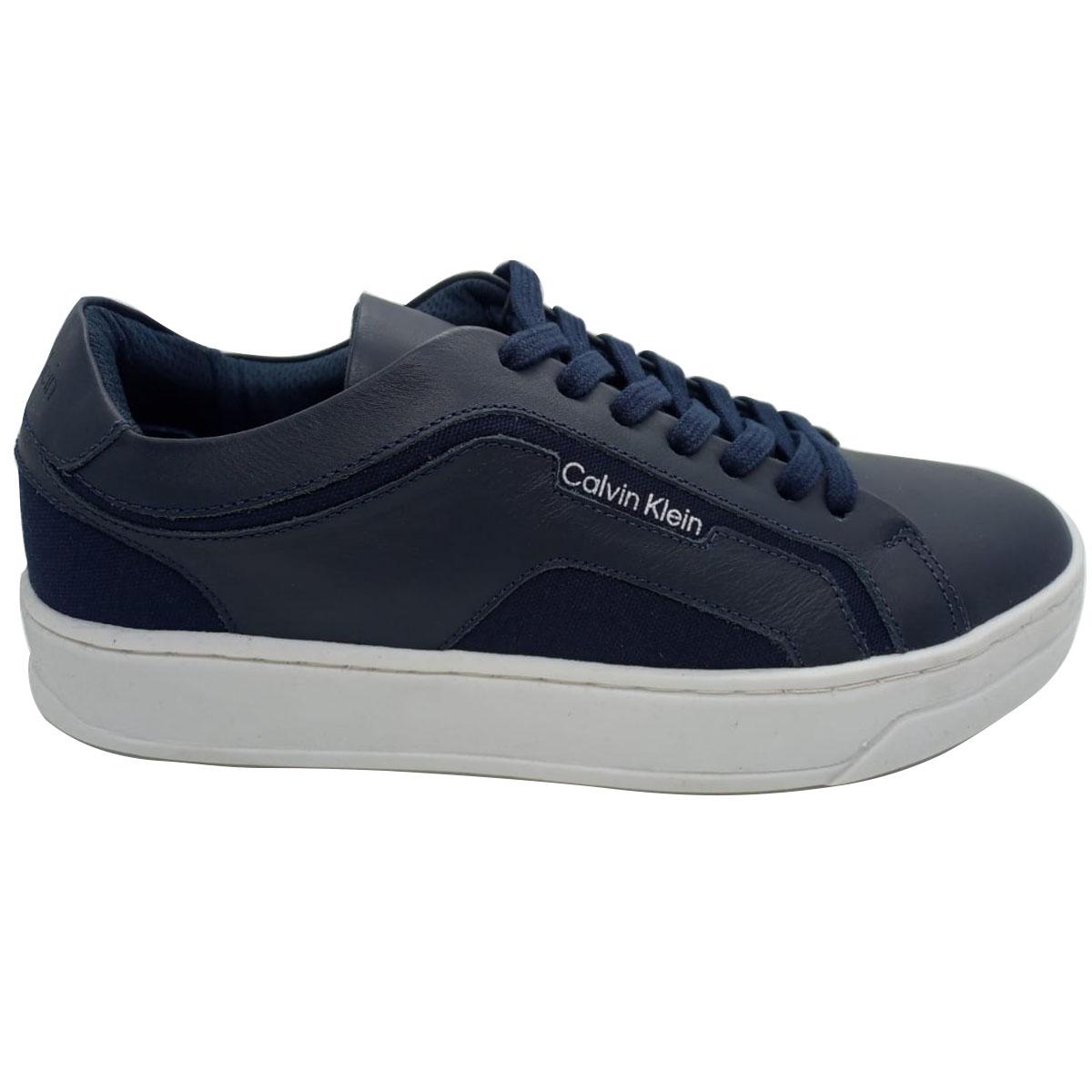 Tênis Calvin Klein Couro e Sarja Azul Marinho