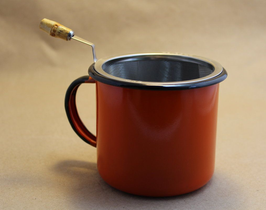 Coador de Chá Inox Com Cabo de Bambu