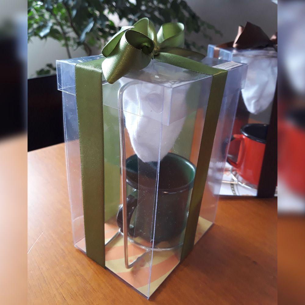 Mini Coador Com Caneca de Ágata Para Presente - Branco