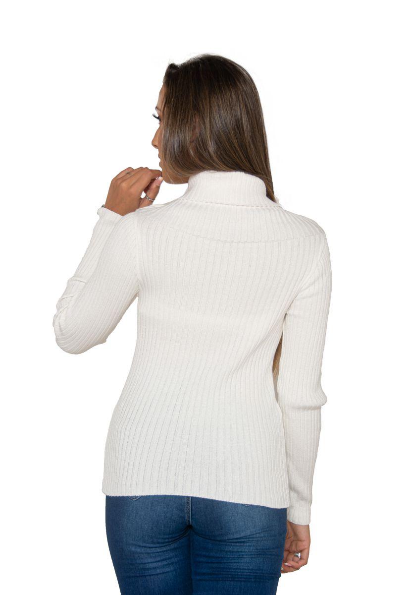 Blusa Canelada de Tricô Ombro a Ombro