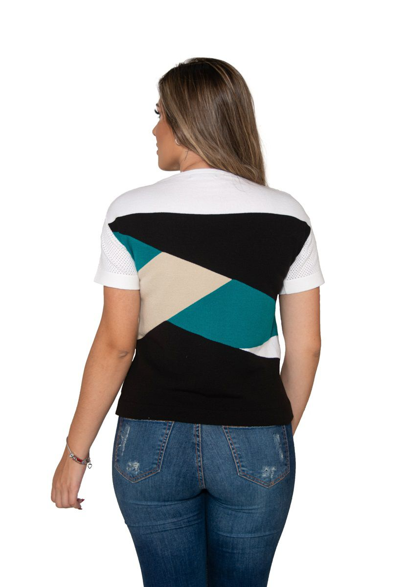 Blusa de Tricô Intarsia 03 Cores
