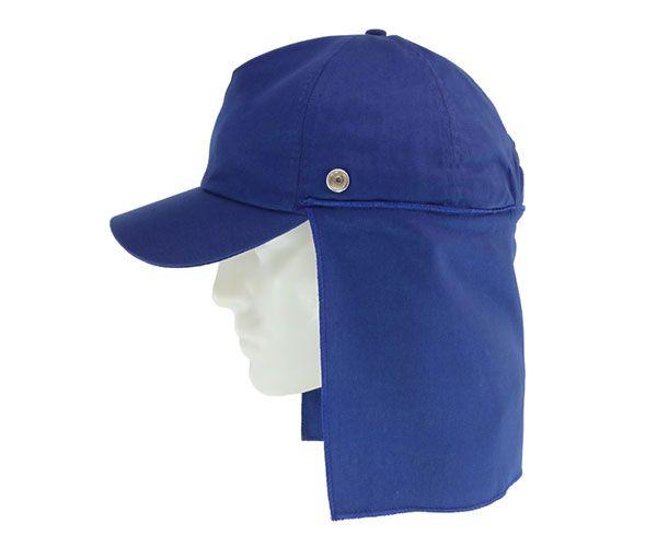 Boné azul com protetor de nuca 20cm com botão