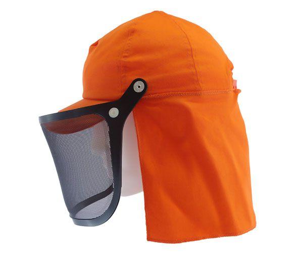 Boné laranja roçador com protetor de nuca 20cm e protetor facial telado 6P