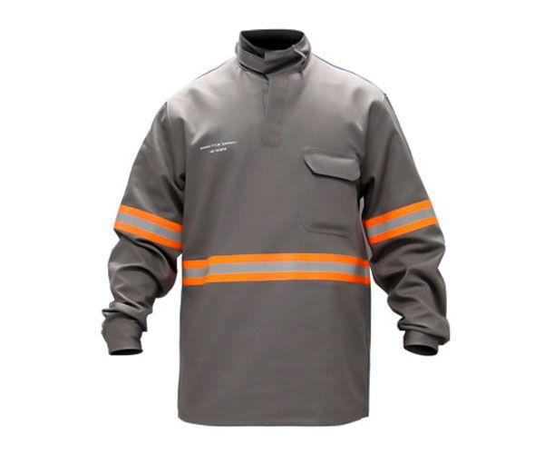 Camisa C NR-10 anti chamas cinza com refletivos