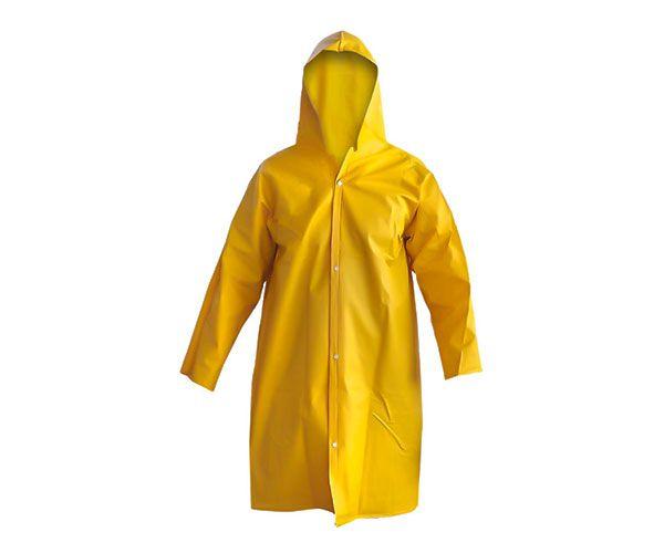 Capa de chuva CAP-TEX 110 PVC forrada com mangas e capuz amarela