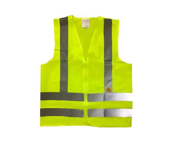 Colete SS de proteção com fechamento em zíper amarelo fluorescente