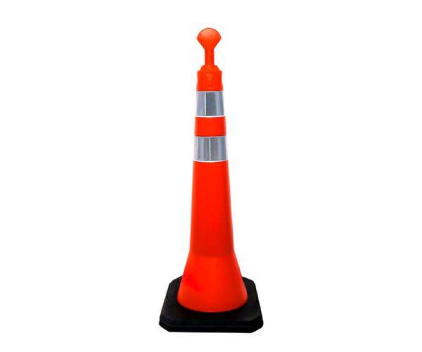 Cone Balizador T-TOP duas faixas laranja e branco