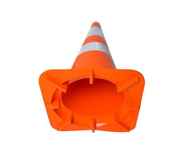 Cone flexível 75cm com faixa refletivas NBR 15071 e NBR 14644 laranja e branco
