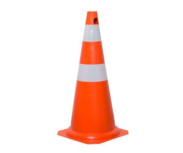 Cone flexível com refletivos 75cm laranja e branco