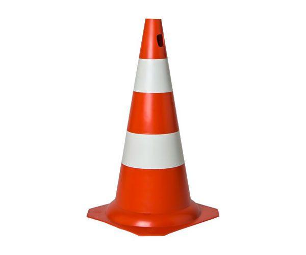 Cone PVC rígido 50cm laranja e branco