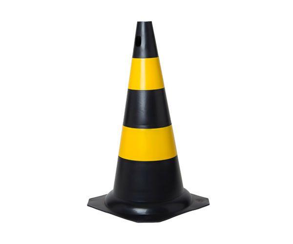 Cone PVC rígido 50cm preto e amarelo
