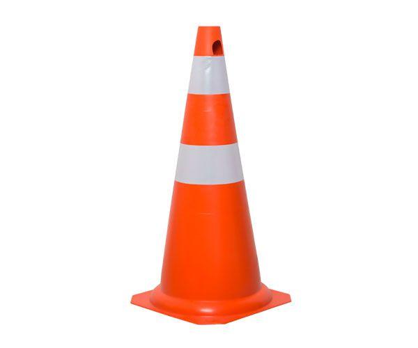 Cone PVC rígido 75cm laranja e branco