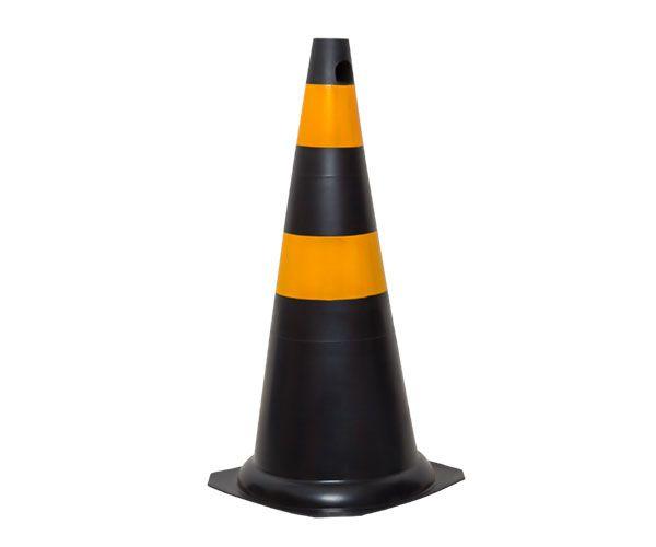 Cone PVC rígido 75cm preto e amarelo
