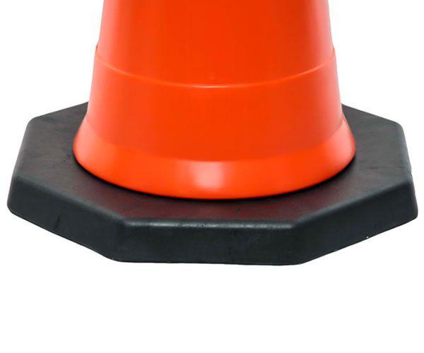 Cone semiflexível 75cm com base de borracha de 2,8kg laranja e branco